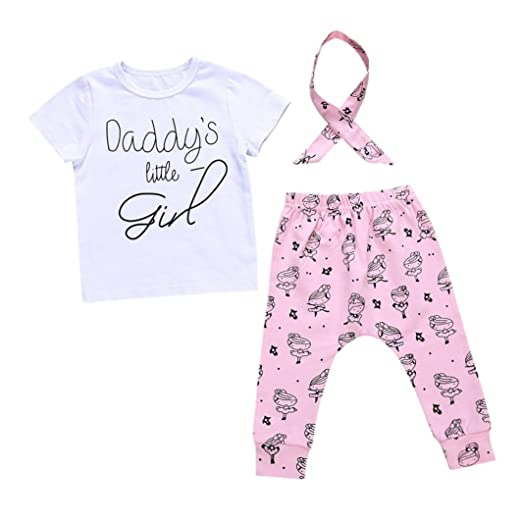 addb81d79a10 Amazon.com  Kehen Infant Baby Girl 2pcs Summer Clothes Daddy s Little Girl  Short Sleeve T-Shirt + Long Pants + Bow Hair Band Sets  Clothing