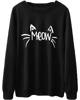 3f3ff18755466 Halife Women s Cute Cat Face and Meow Letter Print Lightweight Sweatshirt