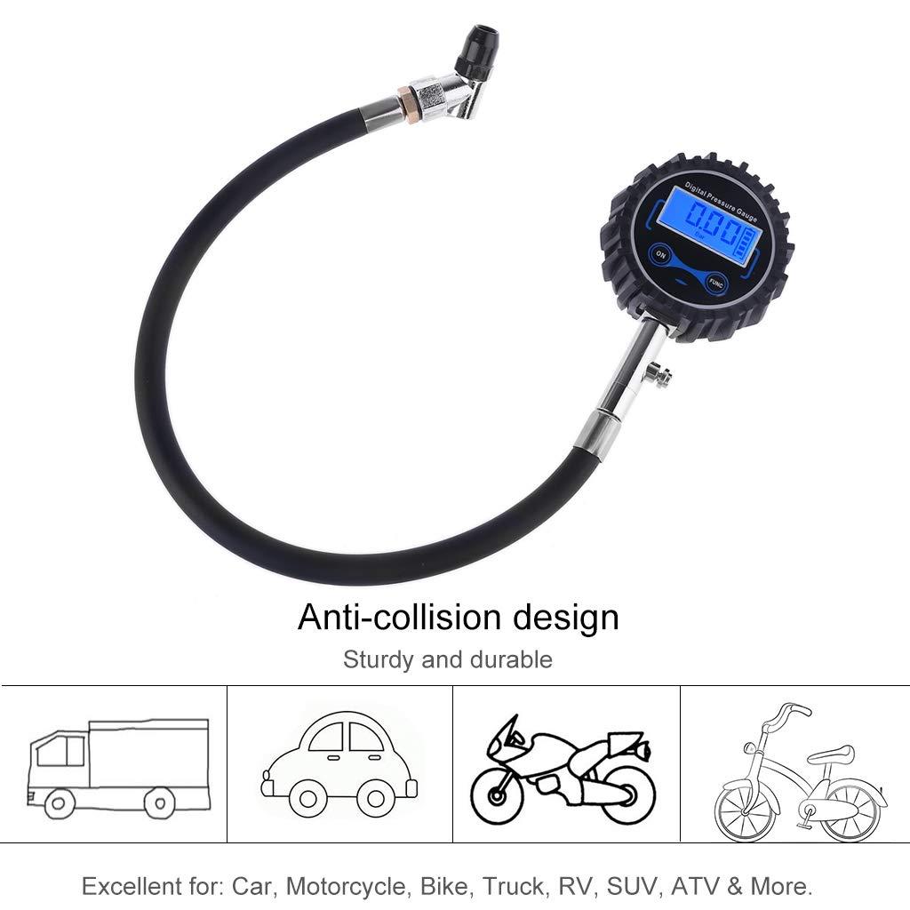 RV Camion TPMS Testeur de Pression des pneus de v/élo 4 unit/és Affichage PSI SUV William-Lee Manom/ètre num/érique 200 psi Mandrin /à air Interchangeable pour Voitures Motos