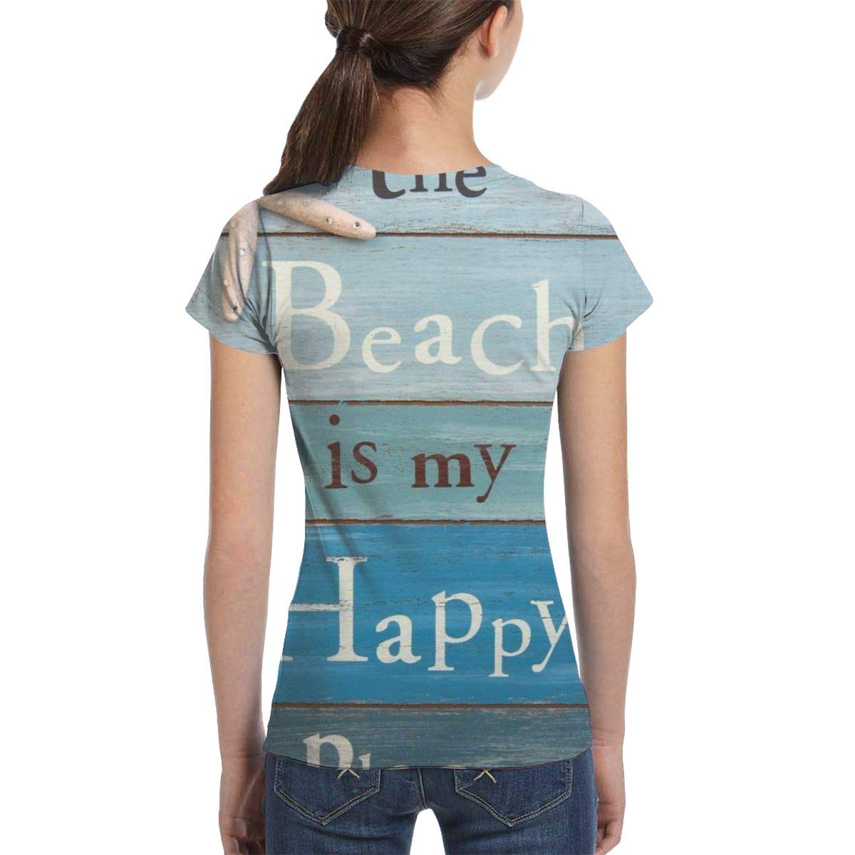 XS-XL L6Nv4o@A Girls Short Sleeve Beach Themed Doormats Rugs-The Beach is My Happy Place Shirts Fashion Tunic Shirt Dress