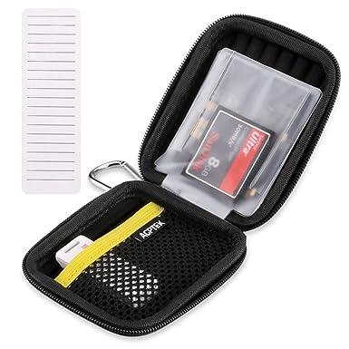 AGPTEK Estuche para Guardar Tarjetas de Memoria SD, SDHC, TF, CF (10 Paginas con 38 Ranuras Total), USB y Auriculares ect. Color Negro