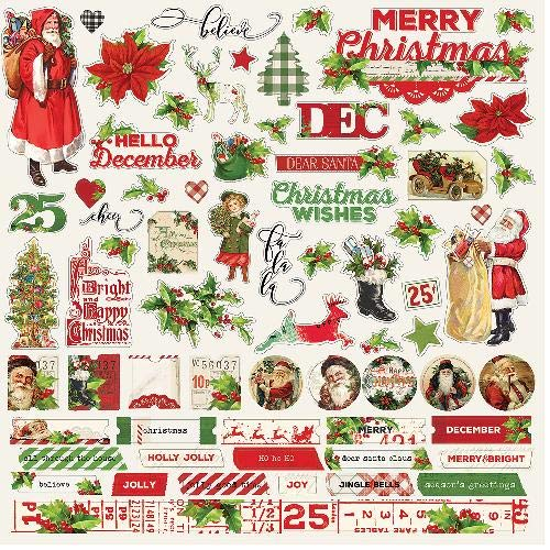 Simple Vintage Christmas Cardstock Stickers 12
