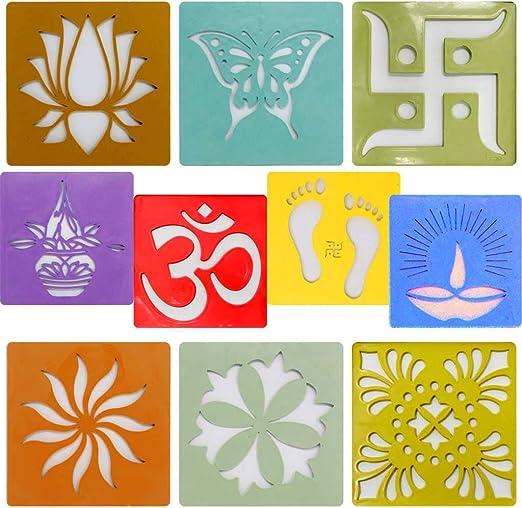 Yogic Mantra Rangoli Stencils Small Squares 10 Stencil Set Size 4 Reusable Template Diya Jyot Charan Paduka Om Aum Swastik Kalash Assorted Mandala Designs Diwali Laxmi Puja Floor Decor Art Wedding Amazon Ca