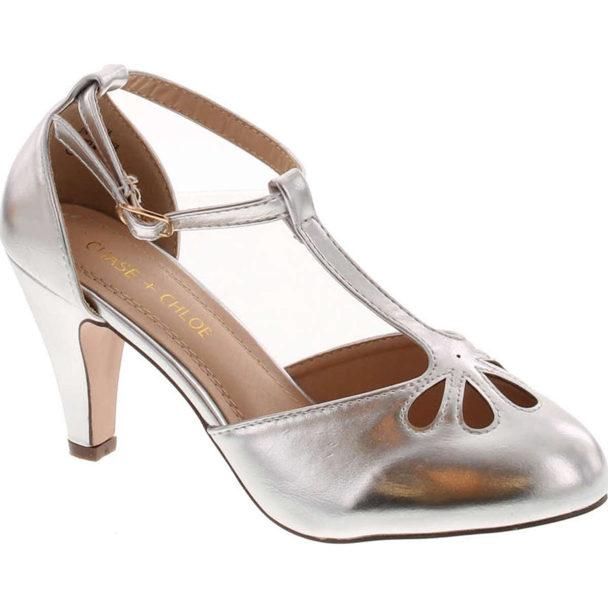 Light Silver Chase & Chloe New Kimmy-36 Women's Teardrop Cut Out T-Strap Mid Heel Dress Pumps