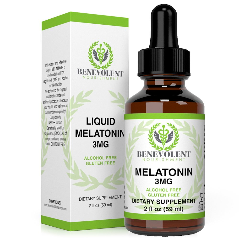 Benevolent Natural Melatonin Liquid 3mg - Nighttime Sleeping Aid for Adults Extra Strength, Raspberry and Vanilla Flavour, Effective Sleep Aid Sublingual Drops, Faster Absorption, Vegetarian, Non-GMO by Benevolent Nourishment
