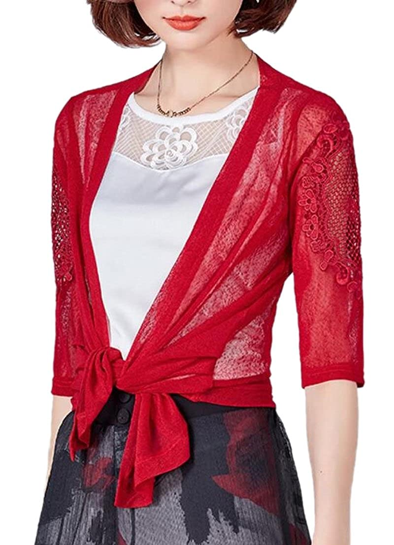 Generic Womens Sheer Shrug Tie Top Lightweight Knit Cardigan