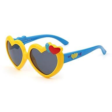 JM Kinder Herz Polarisiert Niedlich Sonnenbrille Flexibel Gummi Jungen Mädchen Alter 3-12(Weiß&Gelb/Grau) mzUJOEltI