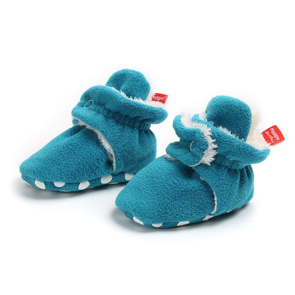 Cotton Lining Anti-Slip Infant Warm Winter Crib Shoes Baby Boys Girls Fleece Booties