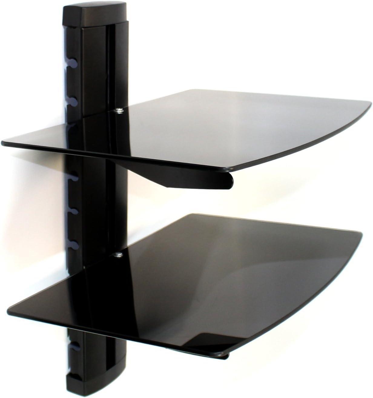Maison & White Consolas flotantes de vidrio negro templado Consolas de montaje en pared / Reproductores de DVD 2 Tier