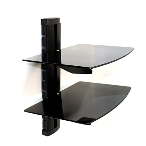 Vonhaus 2 Tier Floating Black Shelves With Flat Black Wall