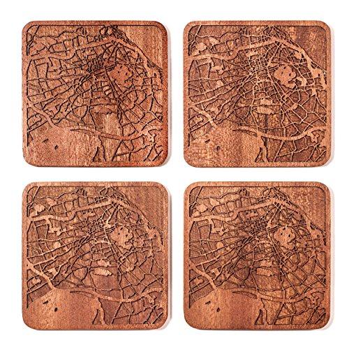 Edinburgh Map Coaster by O3 Design Studio, Set Of 4, Sapele Wooden Coaster With City Map, Handmade -