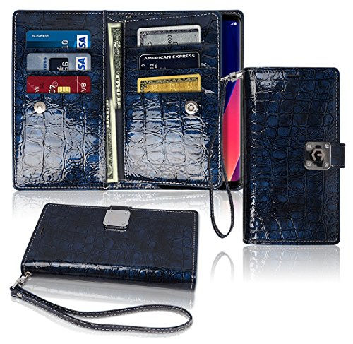- LG V30 Wallet Case, Glossy [ 9 Pockets ] for 6 ID / Credit Card 3 Cash Slots, Power Magnetic Clip With Wrist Strap For LG V 30 Leather Cover Flip Diary (Blue)
