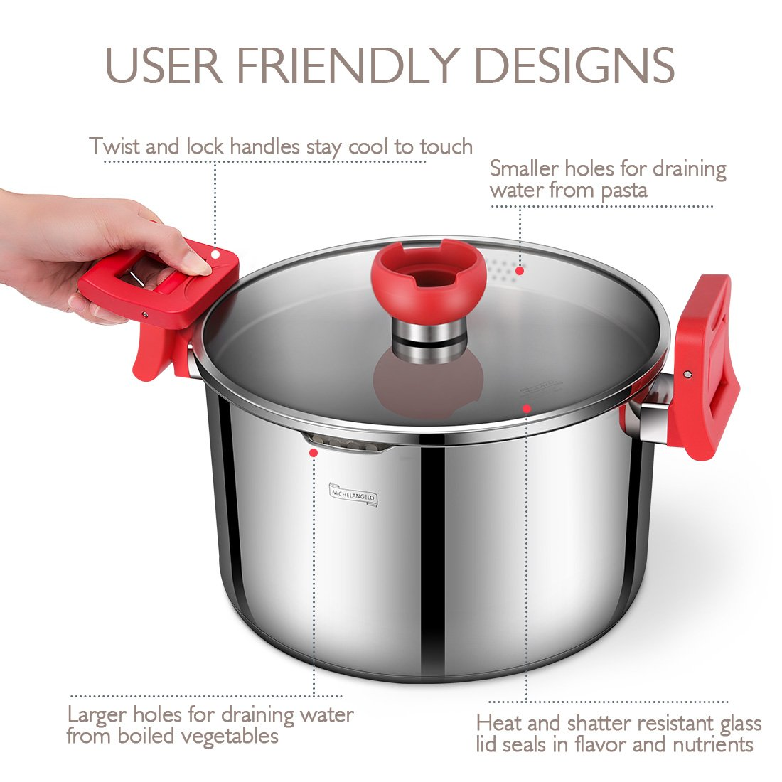 MICHELANGELO 5 Quart Pasta Pot Induction Ready, Stainless Steel Pasta Pot With Strainer Lid, Stainless Steel Dutch Oven Pot, 5 Quart Soup Pots with Lids by MICHELANGELO (Image #6)