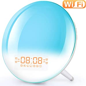 Smart Wake Up Light Alarm Clock - Sunrise Alarm Clock Bedside Night Light Supports WiFi, Sunrise/Sunset Simulation, 4 Alarms, Snooze Function, 7 Colors, 7 Natural Sound & FM Radio
