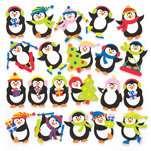 Baker Ross Penguin Foam Stickers (Pack of 120) for Kids Christmas Crafts and Decorations