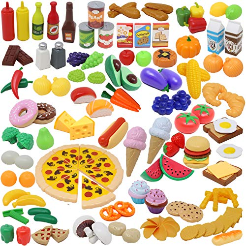 Play Food Set 135 Pieces Play Kitchen Set for Market Educational Pretend Play, Food Playset, Kids Toddlers Toys, Kitchen Accessories Fake Food, Party Favor Supplies, Holiday ()