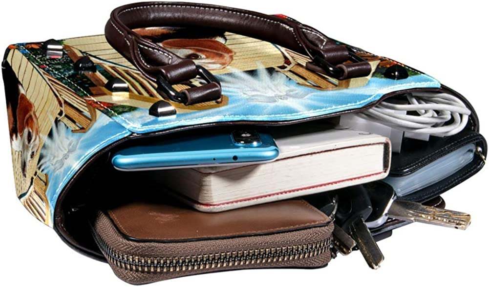 Women handbag Soft PU Leather Fashion Rivet bag Handbag with Shoulder Strap Crossbody Bag Beagle Dog