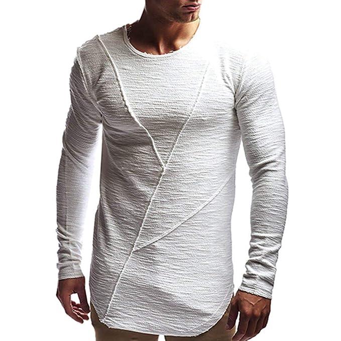 Hombres Otoño Moda Manga Larga Casual Patchwork Sólido Camiseta Delgada Top Blusa