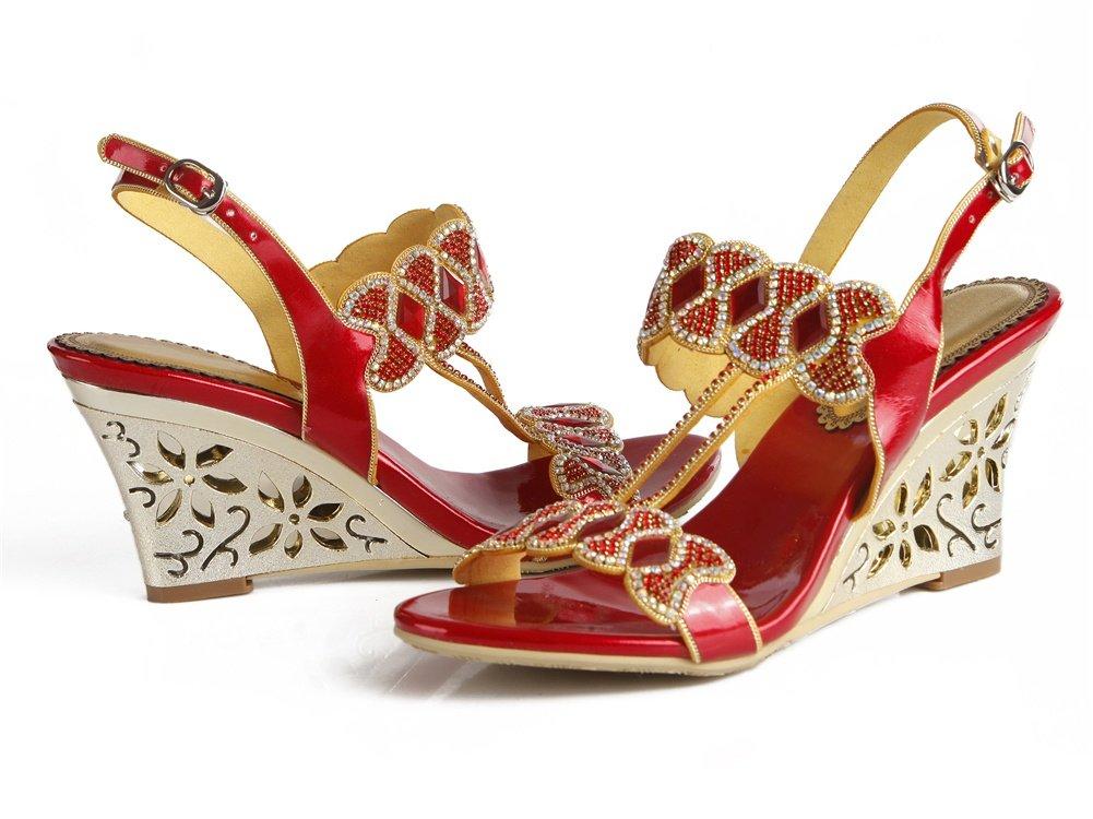 ZPL Damen Keil Sandalen Knöchel Gurt Damen Damen Damen Diamant Kleid Hochzeit Abschlussball Party Abend Schuhe Größe fe23e5