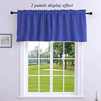 WUBODTI Modern Blackout Kitchen Valance Curtains 2 Panels of Royal Blue  Room Darkening Thermal Insulated Valances Short Drapes and Curtains for ...