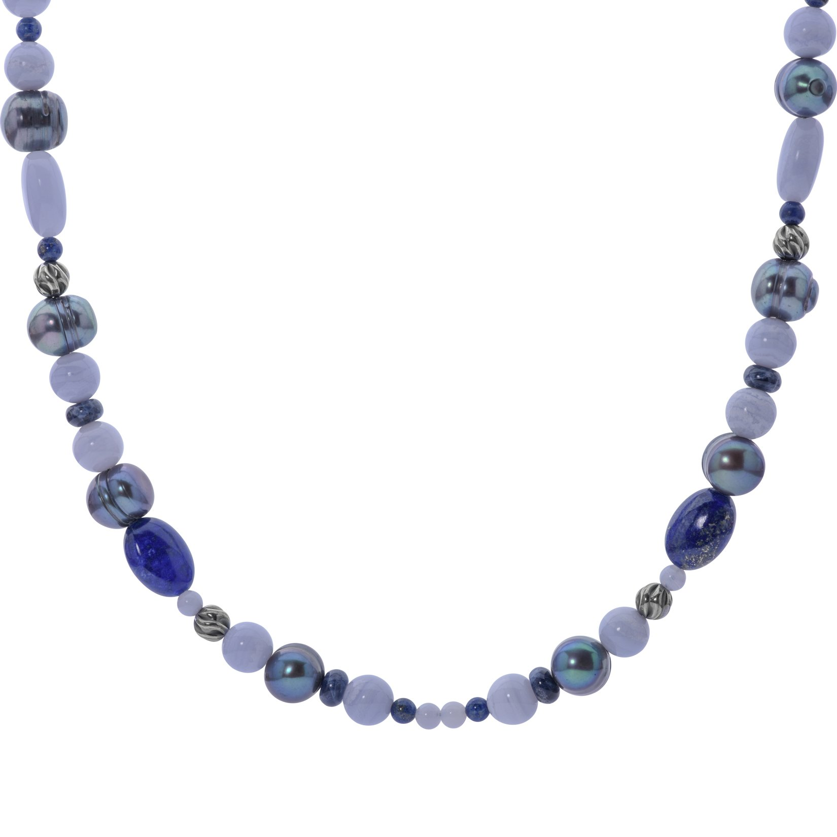 Carolyn Pollack Sterling Silver Blue Agate, Sodalite and Lapis Gemstones Beaded Necklace 30 to 33 Inch by Carolyn Pollack