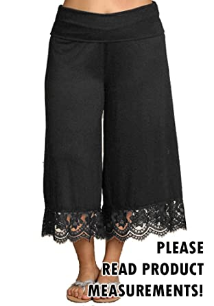 Women's Plus Size Cropped Capri Palazzo Pants Gaucho Fold Waist ...