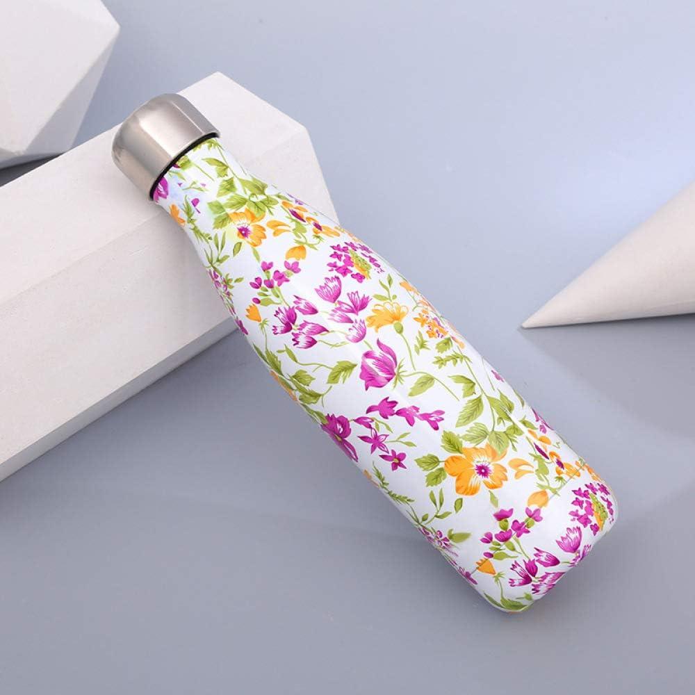 2019 - Botella de acero inoxidable con aislante de mármol, botella deportiva de acero inoxidable 500 ml Flores blancas