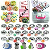 51Pcs Russian Piping Tips Set with Storage Case- 21 Numbered,Easy to Use Icing Nozzles,Pattern Chart,E.Book User Guide,2 Leaf & 1 Ball Tip,2 Couplers,25 Bags.Cake cupcake decorating Kit supplies