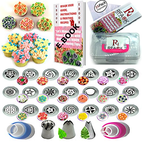Tips Set with Storage Case- 21 Numbered,Easy to Use Icing Nozzles,Pattern Chart,E.Book User Guide,2 Leaf & 1 Ball Tip,2 Couplers,25 Bags.Cake cupcake decorating Kit supplies ()