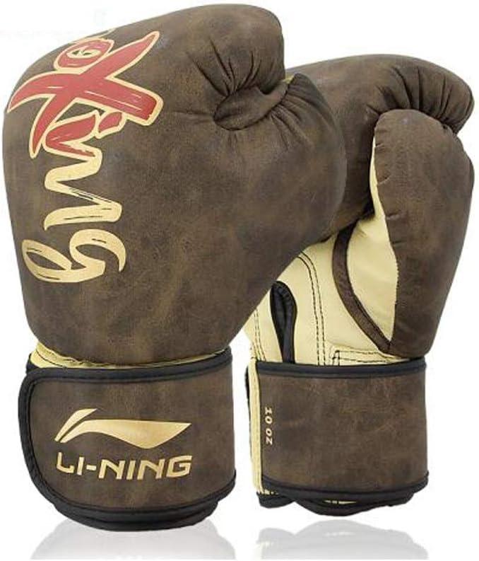 HXSD ボクシンググローブアダルト三田ファイティングマイクロファイバーレザーライナーラテックスコットンハイフォームプロの競争ボクシングセットテコンドーサンドバッグ 柔らかくて快適な手袋、 褐色 10oz