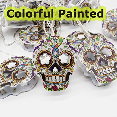Halloween Decorations, 3 Meters 20 LED String Lights, Waterproofed Spooky Colorful HandPainted 2D Skull Lantern, AA Battery Powered Lamps for Indoor Outdoor for Halloween Party Decor(White Cold Light)