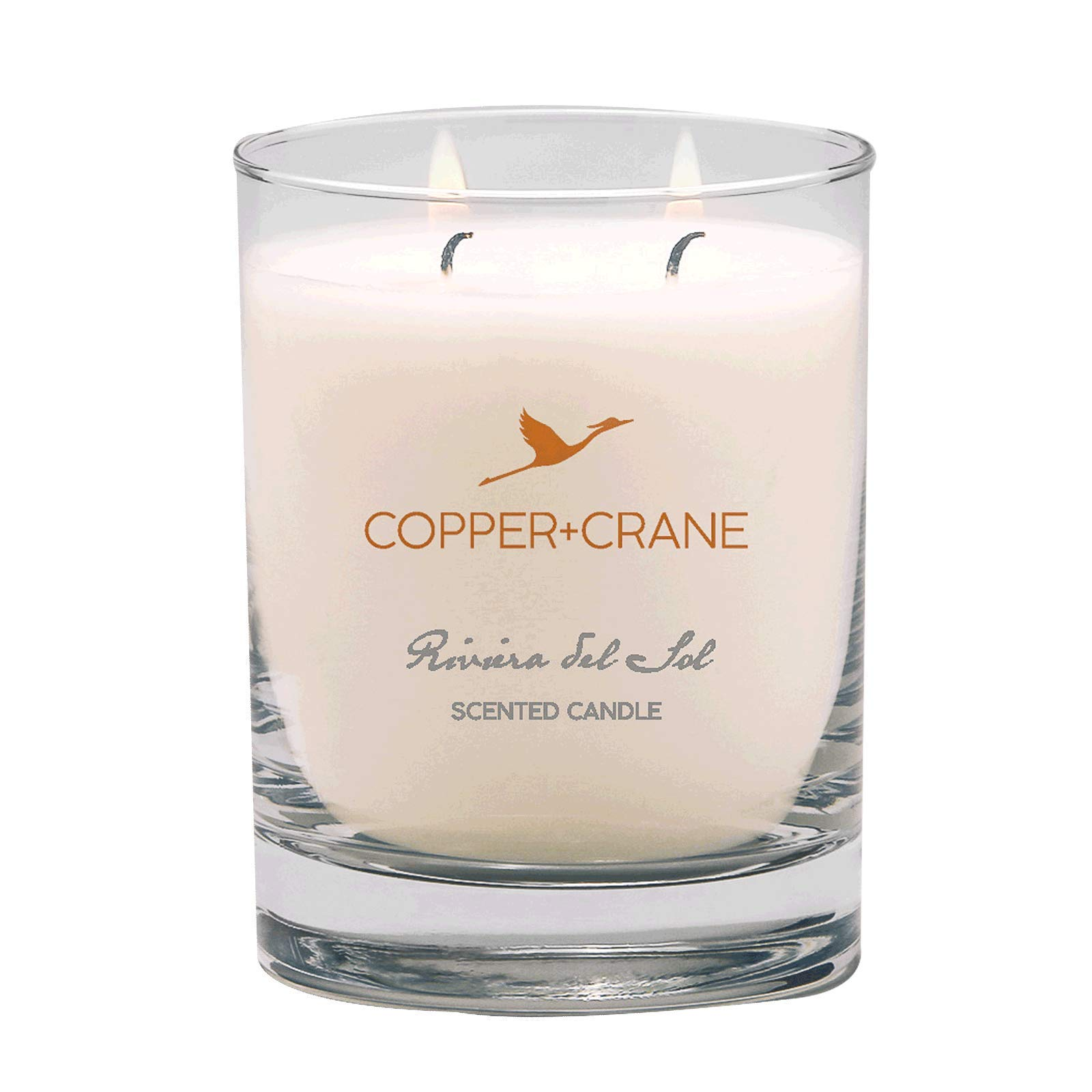 COPPER+CRANE Luxury Scented Candle   Vanilla and Floral Bouquet   long lasting up to 45 hours burn time   hand-placed double wick   9.5 oz.