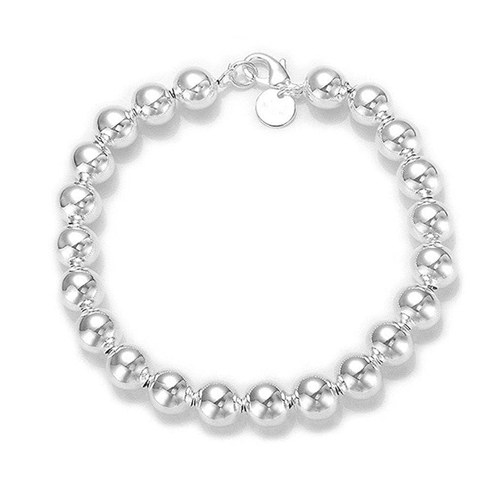BODYA Korean Popular Silver round Buddha Beads link Chain Bracelet Bangle-silver JW1346