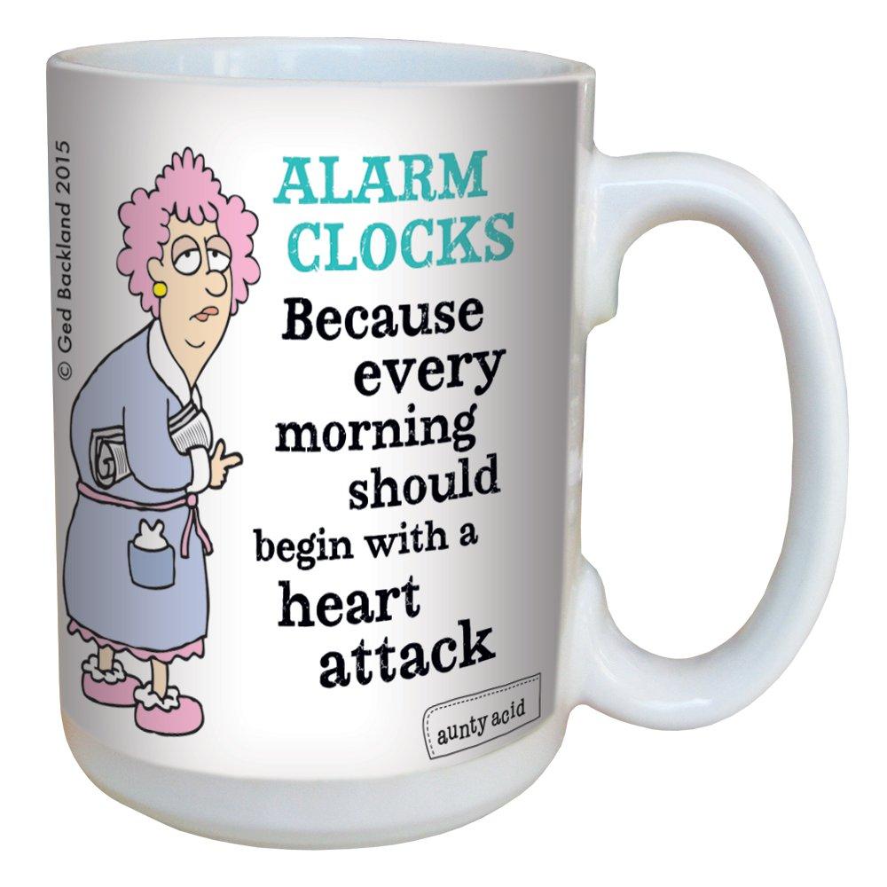 Tree-Free Greetings 15-Ounce Ceramic Mug with Full-Sized Handle Aunty Acid Alarm Clocks LM46483