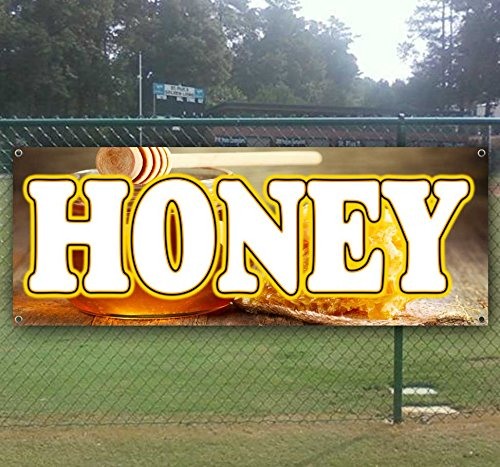Honey 13 oz Heavy Duty Vinyl Banner Sign with Metal Grommets, New, Store, Advertising, Flag, (Many Sizes Available) by Tampa Printing