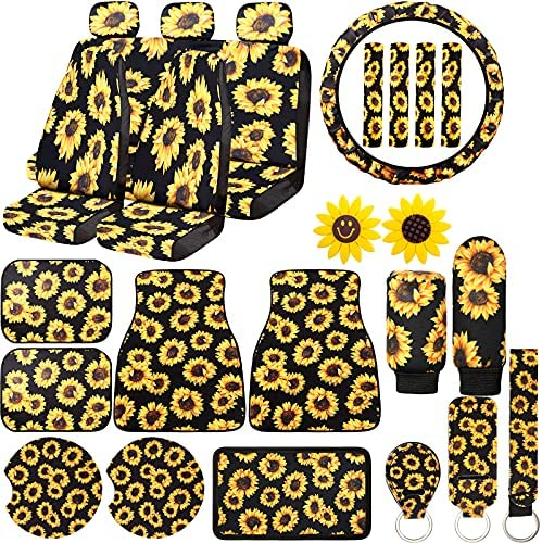 26 Pieces Sunflower Car Accessories with 7 Car Seat Covers 4 Floor Car Mat 4 Seat Belt Shoulder Pads Steering Wheel Cover Center Console Armrest Pad Cover Gear Cover Handbrake Cover Auto Decoration