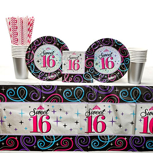 Sweet Sixteen Party Supplies Pack for 16 Guests: Straws, Dessert Plates, Beverage Napkins, Table Cover, and Cups