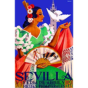 A SLICE IN TIME 1952 Feria de Sevilla Air Seville Spain Vintage Travel Advertisement Art Collectible Wall Decor Poster Print. Measures 10 x 13.5 inches