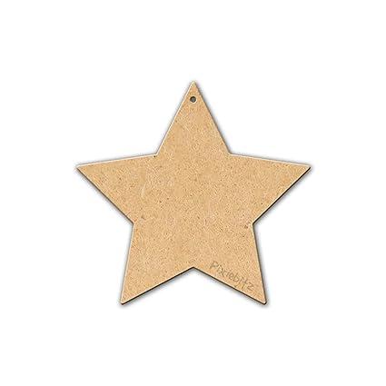 80mm Hanging Stars Mdf Wooden Blank Embellishment Decoration Pack Of 10
