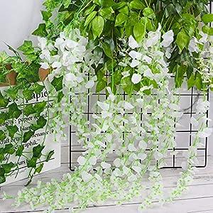 CEWOR 12pcs Artificial Wisteria Hanging Vine Fake Flower Silk Wisteria VineFake Silk Flowers in Natural Chain Garland for Wedding Ceremony Arch Party Home Garden Decor (White) 5