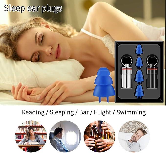 Blu Set di 4 pezzi silicone Noise Cancelling riutilizzabili tappi per le orecchie la protezione delludito riduzione del rumore Cura dellorecchio Prodotto per Viaggiare Dormire 2 dimensioni