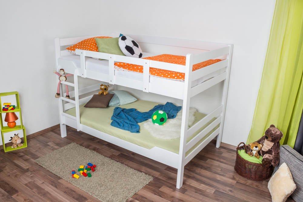 Etagenbett Stockbett Easy Premium Line  K16 n, Kopf- und Fußteil gerade, Buche Vollholz massiv Weißszlig; lackiert - Liegefläche  120 x 190 cm, teilbar