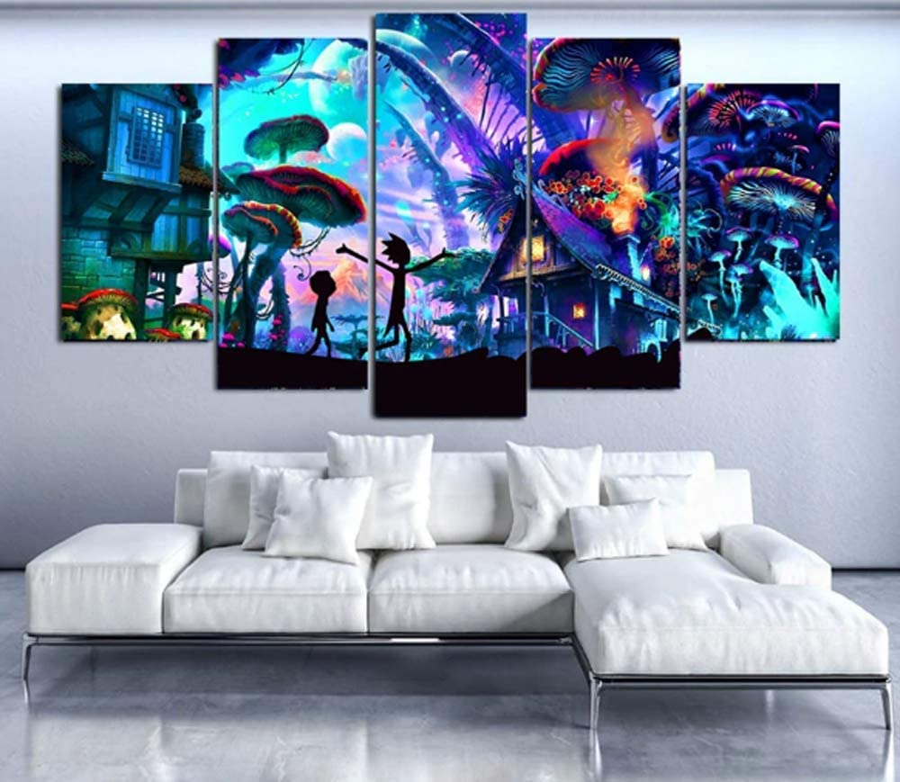 Epikkanvas Empowered Living - 5Pcs Framed Shroom World Rick and Morty 5 Piece Canvas Wall Art