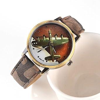 Guerra Mundial II, diseño de Bomber Avión banda de reloj, diseño de camuflaje, reloj: 25: Amazon.es: Relojes