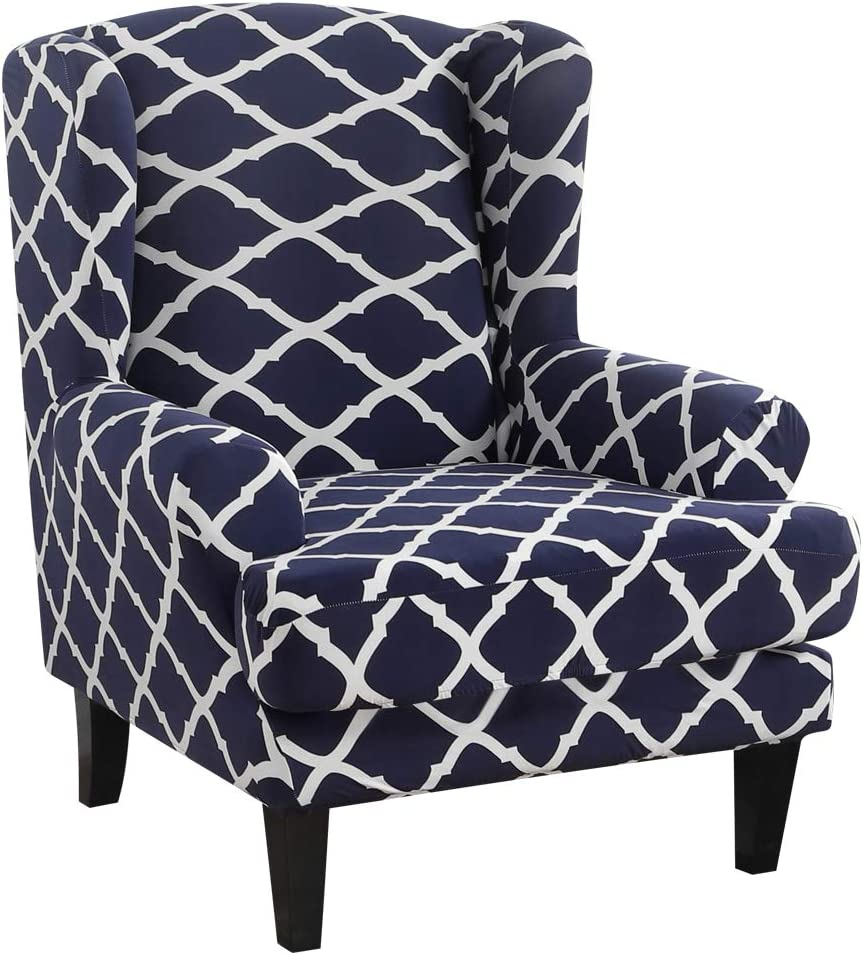 NIBESSER Wing Chair Slipcovers 2-Piece Stretch Jacquard Spandex Fabric Wingback Armchair Chair Slipcovers Furniture Protector Skid Resistance Machine Washable (Geometry Navyblue)