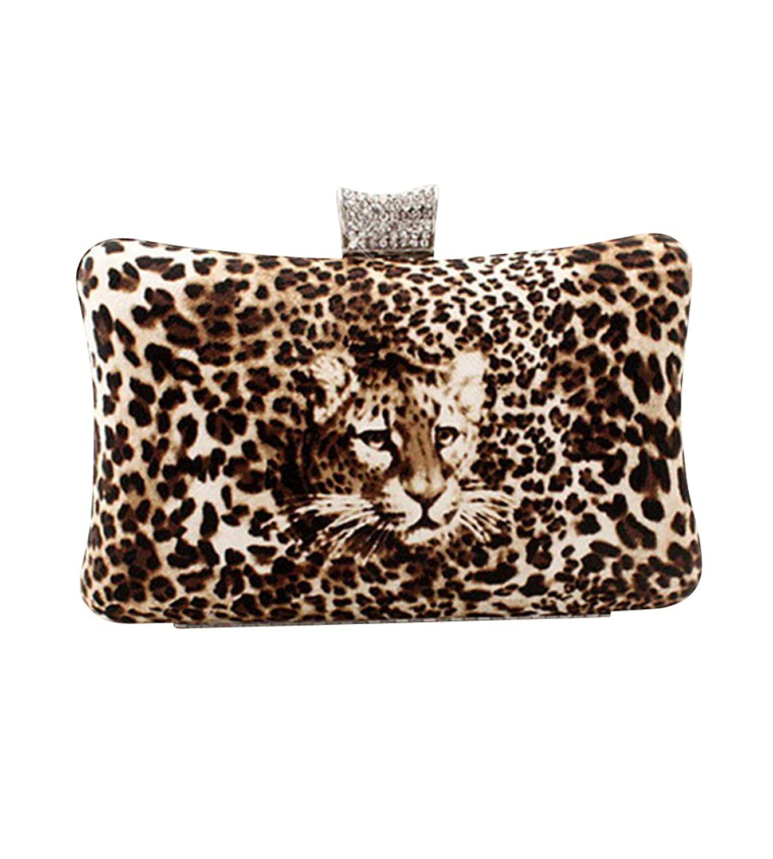 MissFox Women's Leopard Rhinestone Design Chain Clutch Evening Bag