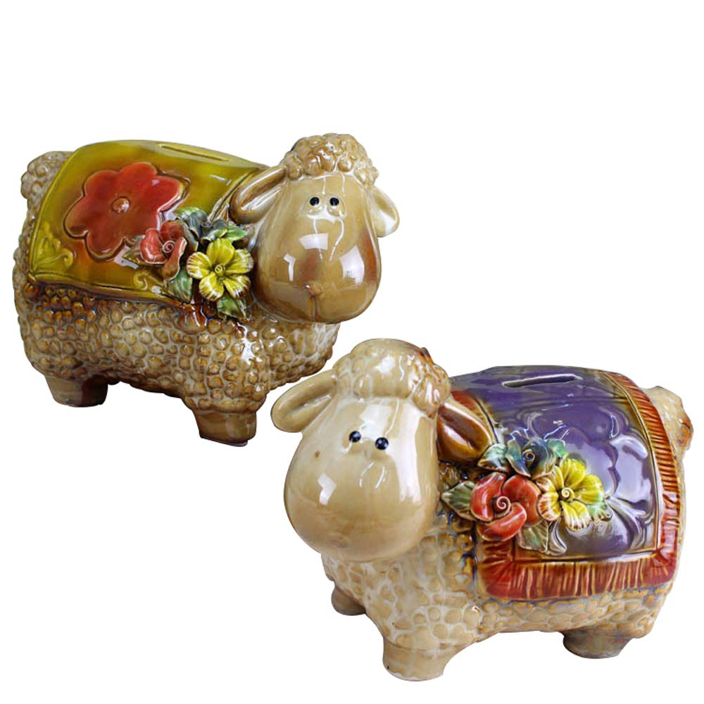 ADbox Ceramic Piggy Bank Coin Storage, Money Box Sheep 2 Pieces Sold Together Gifts for Children Friends, Also Ornaments for Room Decorations by ADbox