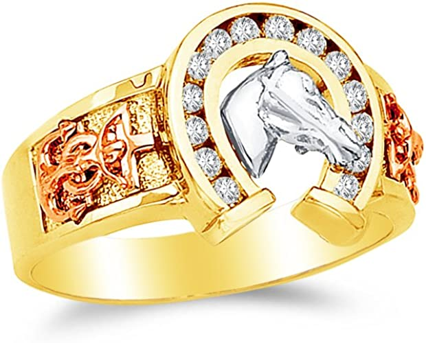 Sonia Jewels 14k Yellow Gold CZ Cubic Zirconia Lucky Horseshoe Mens Ten Stones Ring