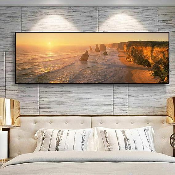 NIMCG Color Cielo Arte Estilo Seamount Paisaje Lienzo Pintura Cartel e impresión Mural Sala Imagen (sin Marco) A1 60x180 cm: Amazon.es: Hogar