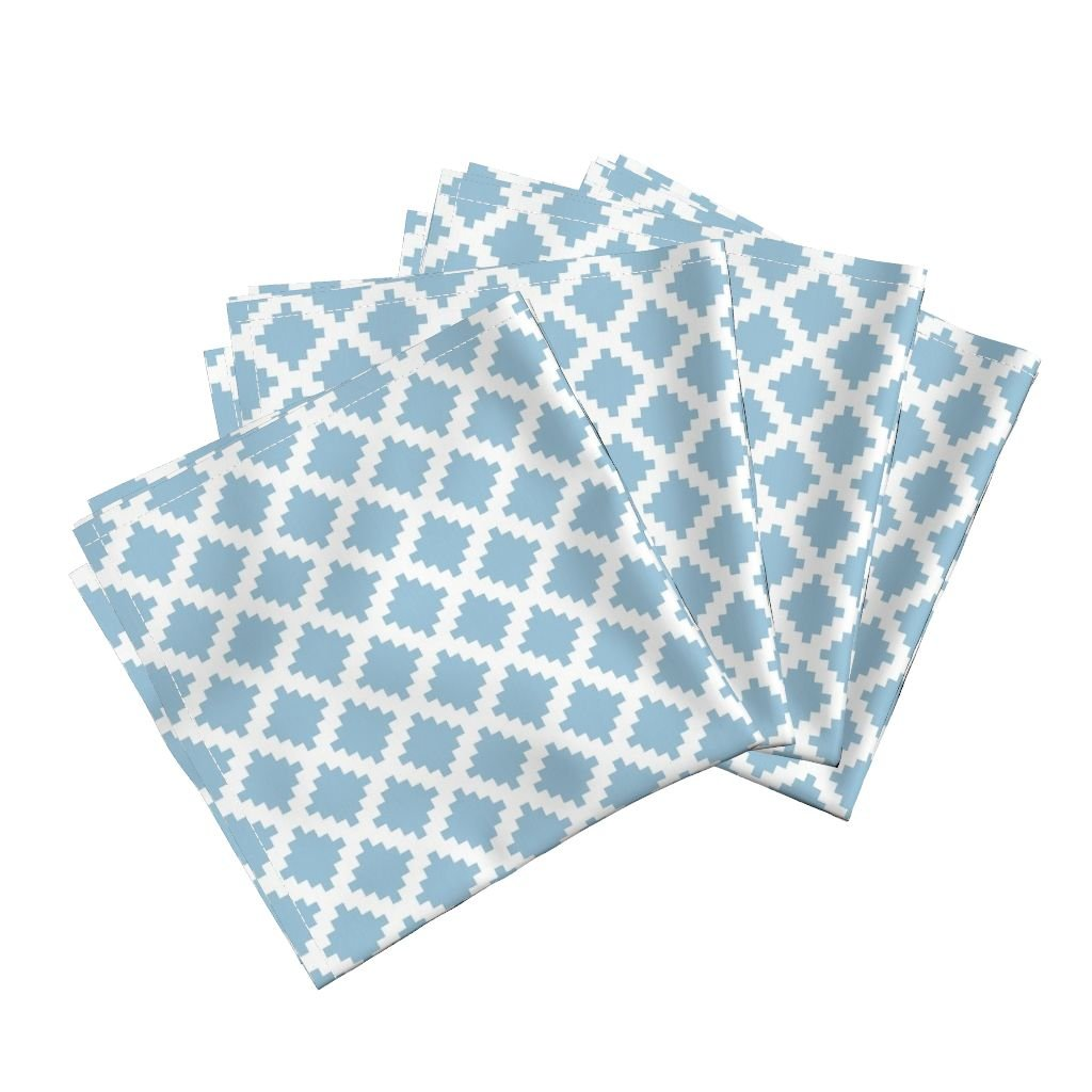 Roostery Geometric Linen Cotton Dinner Napkins Aztec Diamond Spa Blue by Greysquaredesigns Set of 4 Cotton Dinner Napkins Made